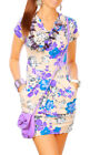 Womens Mini Dress with Floral Pattern Draped Style Short Tunic with Pockets 3032