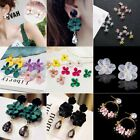 Fashion Boho Big Flowers Ear Stud Earrings Women Wedding Bridal Jewelry Gift New