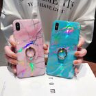 Bling Glitter Laser Marble Ring Holder Case Cover Phone X XS Max XR 6S 7 8 Plus
