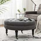 Simhoo Large Tufted Lined Ottoman Coffee Table with Casters,Round Footstool