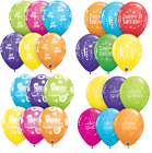 "6 x 27.5cm (11"") HAPPY BIRTHDAY TROPICAL Qualatex Latex Balloons - Party Designs"