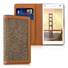 CASE WALLET STYLE DONNA FOR SONY XPERIA Z5 COMPACT BROWN COVER FLIP TWEED BAG