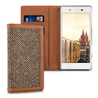 CASE WALLET STYLE DONNA FOR SONY XPERIA Z5 BROWN COVER FLIP TWEED BAG