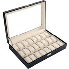 Mens 6-24Grid Leather Watch Display Case Jewelry Collection Storage Holder Box W