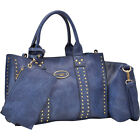 Dasein Studded Satchel with Detachable Organizer Pouch