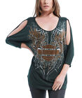 Harley-Davidson Womens Green Embellished Top Tribal Winged B&S 3/4 Sleeve $29.99 AUD on eBay