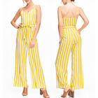 NEW Forever 21 Yellow Citron Cream Striped Wide Leg Sash Belt Cami Long Jumpsuit