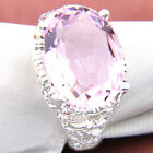 Christmas Gift Exquisite Gorgeous Pink Topaz Gems Silver Wedding Rings Size 8