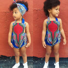 Toddler Baby Girl African Off Shoulder Romper Hairband+Bodysuits Clothes Printed
