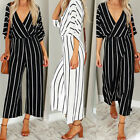 Fashion Women's Casual Striped Loose Pants Half Sleeve Jumpsuit Romper h8