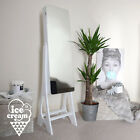 White Standing Jewellery Cabinet Luxury Mirror with LED Lights Bedroom Furniture