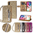 Glitter Bling Leather Zipper Wallet Card Case Cover for i Phone Xs Max/XR/X/7 8+
