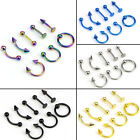 Mixed 8PCS 16G Stainless Steel Helix Piercing Jewelry Ear Eyebrow Nose LipRin~JG