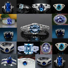 925 Sterling Silver Blue Sapphire Rings Women Fashion Rings Jewelry Size#6-10 image