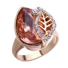 Women 18K Yellow Gold Filled Padparadscha Leaf Ring Gift Wedding Jewelry Sz6-10