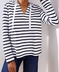 Ann Taylor LOFT Cotton Striped Pullover Hoodie Size Small, X-Large Forever Navy