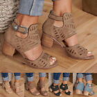 Women Fashion Hollow Out Peep Toe Square Heel Wedges Sandals High Heels Shoes LL