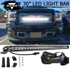 30 inch LED Light Bar Spot Flood Combo Behind Grille + Wire For 14-18 GMC Sierra