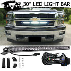 """30"""" LED Light Bar Single Row Combo Behind Grille w/ Wire For 14-18 GMC Sierra"""