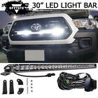 """Silm 30"""" LED Light Bar Behind Grille Mounting, Wiring For 2016-up Toyota Tacoma"""