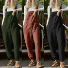 ZANZEA Women Strappy Causal Harem Pants Dungaree Bib Cargo Pants Overalls Plus