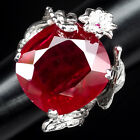 TOP PIGEON BLOOD RED RUBY RING 25.20 CT. WHITE GOLD 925 SILVER JEWELRY SIZE 6.75