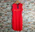 NWT Women's Summer Cotton Simple Gold Buttons Letters Bal-main Red T-shirt Dress