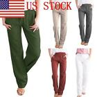 US Womens Linen Pants Wide Leg High Waisted Drawstring Casual Long Pure Trousers