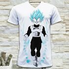 DRAGON BALL SUPER VEGETA GOD SAIYAN MEN'S WHITE V NECK T-SHIRT SIZE S M L XL image