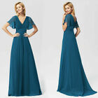 Ever-Pretty Mesh Sleeve Chiffon V-neck Evening Dress Floor-Cocktail Weddin Gowns