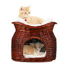 Wicker Pet Pod - Woven Cat Bed & Carrier Thick Cushion Bed Sofa Basket