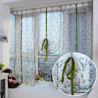 Embroidered Floral Window Curtains Sheer Valances Tulle Voile Door Drape Panels