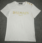 Couple's Women's Summer Tee Cotton Simple Gold Buttons Letters Bal-main T-shirt