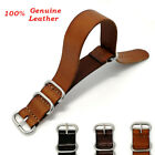 Infantry Men Genuine Leather Army Military Buckle Watch Strap Band 18/20mm/22mm image