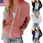 US Women's Ladies Jacket Pure Long-Sleeved Pull-Rope Cap Zipper Guard Dress 03