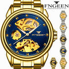Skeleton Dial Automatic Mechanical Watch Men's Stainless Steel Band Wrist Watch- image