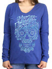 Harley-Davidson Womens Calavera Skull Cobalt Blue Long Sleeve V-Neck T-Shirt $19.99 USD on eBay