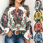 Kyпить Women Boho Floral V-Neck Long Lantern Sleeve Oversize Blouse T Shirt Tops S-5XL на еВаy.соm