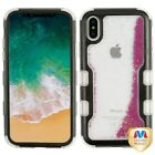 For iPhone XS/X TUFF Quicksand Liquid Glitter Bling Hybrid Protector Case Cover