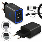 Super Fast 2 Port Wall Battery Charger European Plug Adapter and Cable For Phone