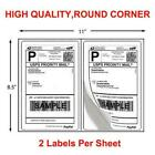 200-1000 Half Sheet 8.5x5.5 Shipping Labels 2/Sheet Self Adhesive Round Corner