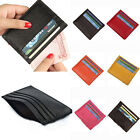 Women Men Genuine Small Mini Wallet Solid Credit Card Holder Slim Pocket Purse image
