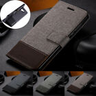For Samsung Galaxy Note 10 Plus Canvas Card Wallet Cover Flip Leather Stand Case