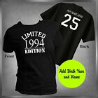 Kyпить 25th Birthday / Limited Edition 1994 T-Shirt Personalize Back Sizes XS-6XL на еВаy.соm