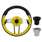 "Golf Cart Custom YELLOW 13"" Steering Wheel EZGO CLUB CAR YAMAHA with Adapter"