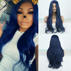Heat Resistant Fiber Dark Blue Natural Wave Synthetic Wigs for Women Cosplay Wig