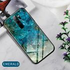 For Xiaomi Redmi Note 8 Pro Marble Tempered Glass Shell Case TPU Bumper Cover
