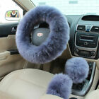 Car Soft Steering Wheel Cover Furry Woolen Fur+Gear Knob Shifter+Park Brake 38cm