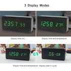 LED Wooden Alarm Clock 3 Levels Brightness Voice Control USB Desktop Clock M8F8