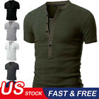 Men's Slim Fit V Neck Short Sleeve Muscle Tee T-shirt Casual Tops Henley Shirts image